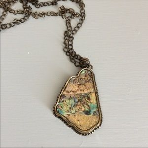 Jewelry - Abalone Necklace in Worn Gold Tone